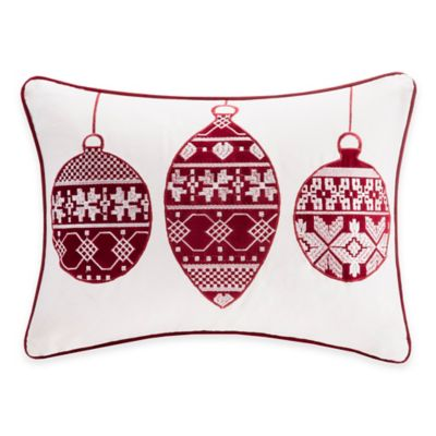 Madison Park Ornament Velvet Oblong Throw Pillow in Ivory/Red