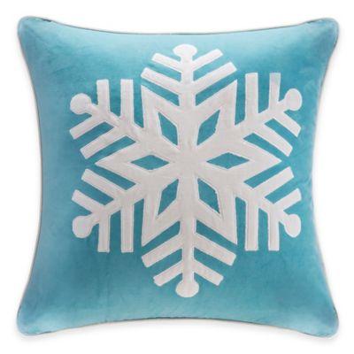 Madison Park Snowflake Velvet Square Throw Pillow