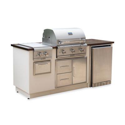 Saber® EZ Outdoor Kitchen with Fridge in Copper