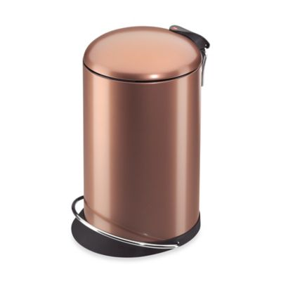 Hailo trento topdesign round 16 liter step trash can in gold for Gold bathroom wastebasket