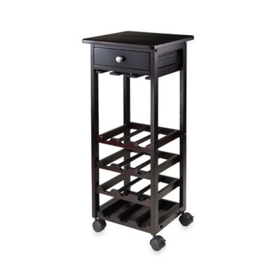 Winsome Trading Marsala 12-Bottle Wine Cart in Espresso