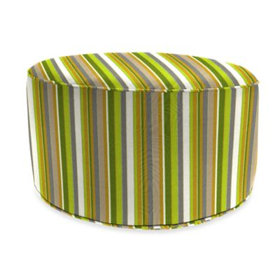 Outdoor Round Pouf Ottoman in Sunbrella® in Carousel Limelight