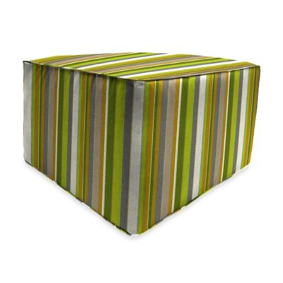 Outdoor Square Pouf Ottoman in Sunbrella® Carousel Limelight