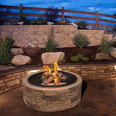 Sun joe fire joe wood burning 35 inch cast stone fire pit for Precast concrete outdoor fireplace kits