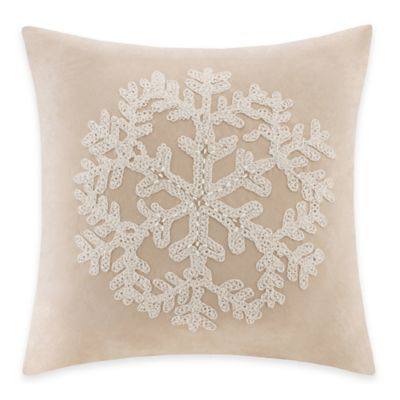 Madison Park Snowflake Embroidered Square Throw Pillow in Tan