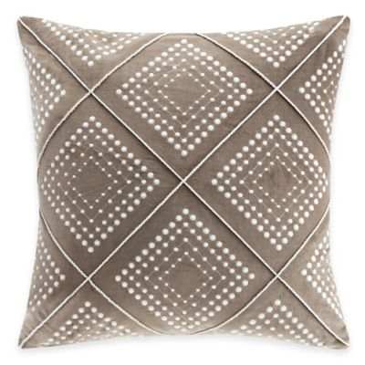 Madison Park Cotton Velvet Geometric Embroidered Square Throw Pillow in Taupe