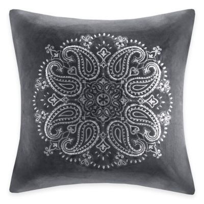 Madison Park Cotton Velvet Medallion Square Throw Pillow in Grey