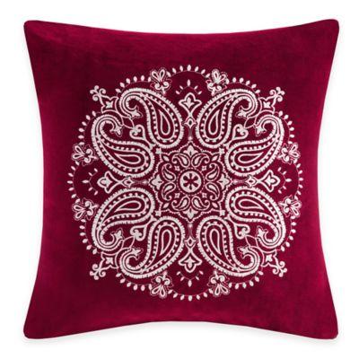 Madison Park Cotton Velvet Medallion Square Throw Pillow in Red