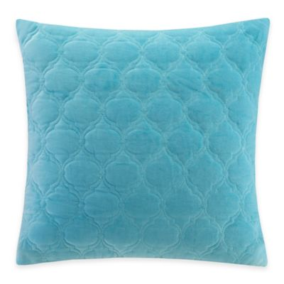 Madison Park Cotton Velvet Ogee Quilted Reversible Square Throw Pillow in Aqua