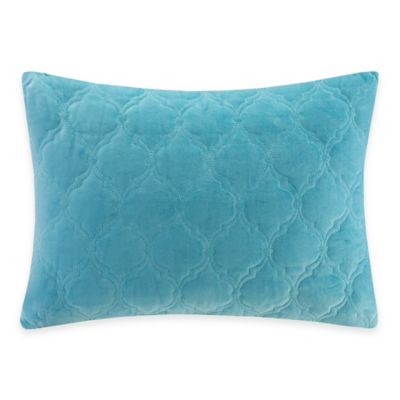 Madison Park Cotton Velvet Ogee Quilted Reversible Oblong Throw Pillow in Aqua