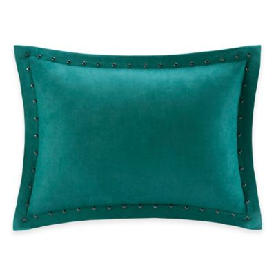 Madison Park Alban Stud Trim Microsuede Oblong Throw Pillow in Teal