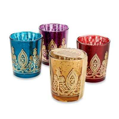 Kate Aspen Indian Jewel Henna Votives Set Of 4