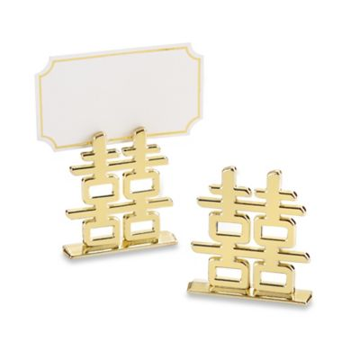 "Kate Aspen® 6-Count ""Double Happiness"" Place Card Holders in Gold"