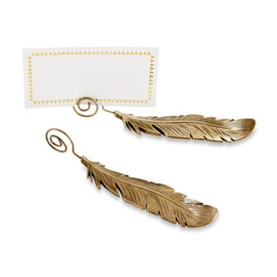 Kate Aspen® 6-Count Gilded Gold Feather Place Card Holders in Bronze