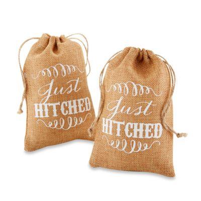 "Kate Aspen® ""Just Hitched"" Burlap Favor Bags (Set of 12)"