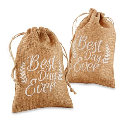 "Kate Aspen® 12-Count ""Best Day Ever"" Burlap Favor Bags"