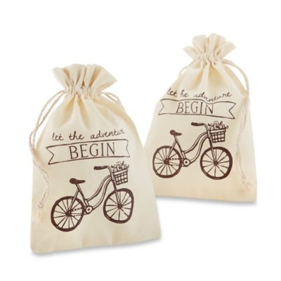 "Kate Aspen® ""Let the Adventure Begin"" Muslin Favor Bags (Set of 12)"