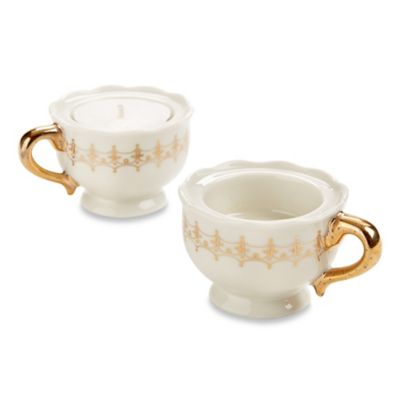 Kate Aspen® 4-Count Classic Gold Teacups Tealight Holders