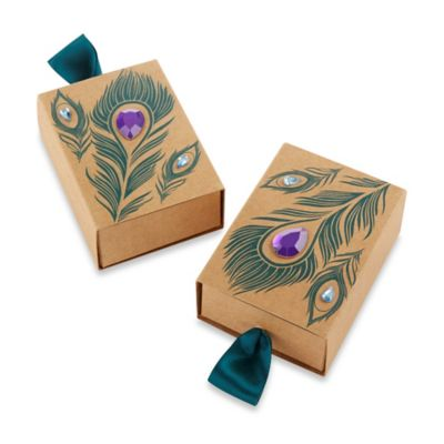 Kate Aspen® 24-Count Jeweled Peacock Kraft Favor Boxes