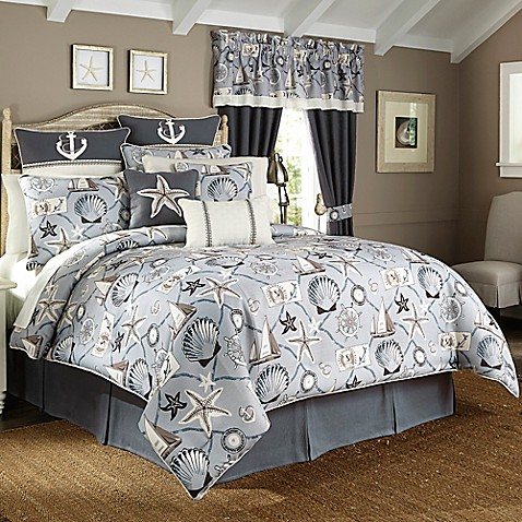 buy croscill yachtsman queen comforter set in light blue. Black Bedroom Furniture Sets. Home Design Ideas