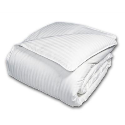 Damask Stripe 600 Thread Count King European White Down Comforter
