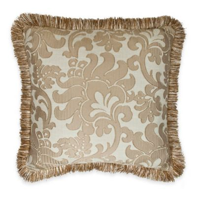 Austin Horn Classics Florence Lattice Flower Square Throw Pillow in Gold/Cream