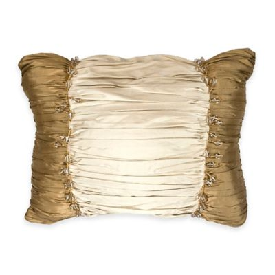 Austin Horn Classics Florence Ruched Beaded Oblong Throw Pillow in Gold