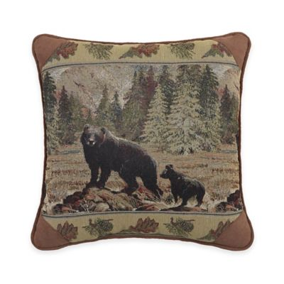 Grand Lake Square Throw Pillow in Brown