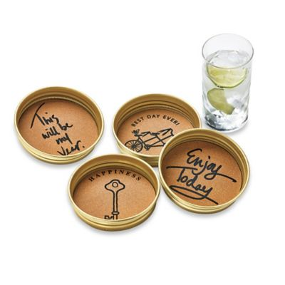 Vintage Jar Lid Sentiment Coaster (Set of 4)