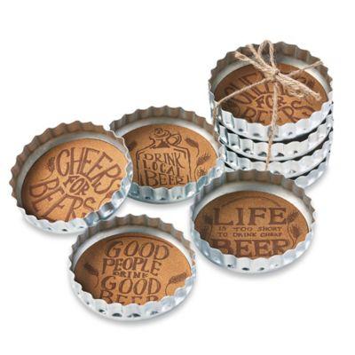 Bottle Cap Beer Coasters (Set of 4)
