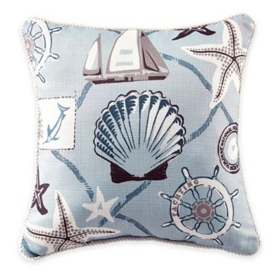 Croscill® Yachtsman Printed Square Throw Pillow in Light Blue