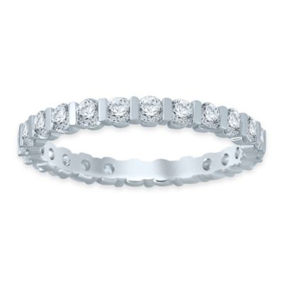 14K White Gold 1.0 cttw Diamond Size 9 Ladies' Bar Wedding Eternity Band