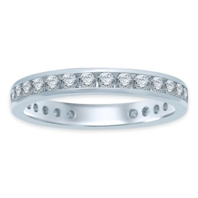 14K White Gold 1.0 cttw Diamond Channel Set Size 9 Ladies' Eternity Wedding Band