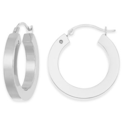 14K White Gold Squared Round Hoop Earrings