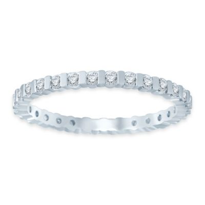 14K White Gold .50 cttw Diamond Size 4 Ladies' Bar Wedding Eternity Band