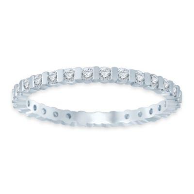 14K White Gold .50 cttw Diamond Size 7.5 Ladies' Bar Wedding Eternity Band