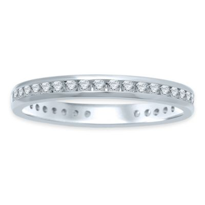 14K White Gold .50 cttw Diamond Channel Set Size7.5 Ladies' Eternity Wedding Band