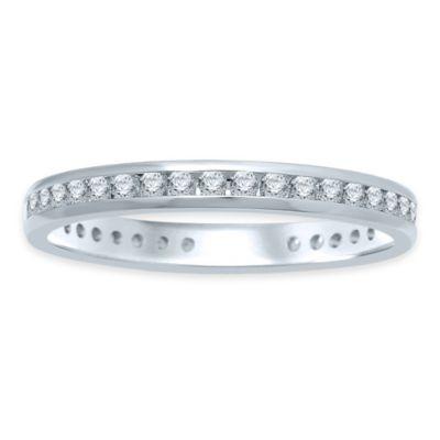 14K White Gold .50 cttw Diamond Channel Set Size 8 Ladies' Eternity Wedding Band