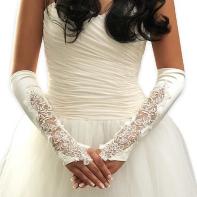 Above-the Elbow Sheer Matte Floral Fingerless Bridal Gloves in White