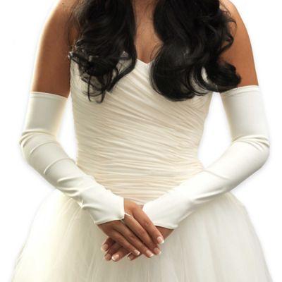 Above The Elbow Matte-Finish Fingerless Bridal Gloves in White