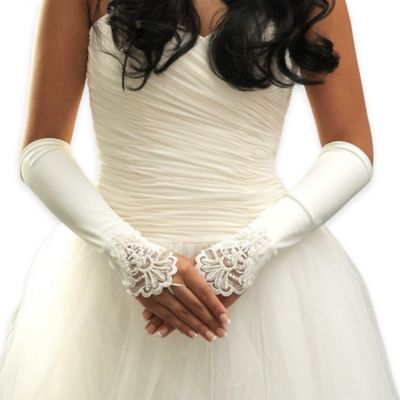 Below The Elbow Simulated Pearl and Lace Matte-Finish Fingerless Bridal Gloves in White