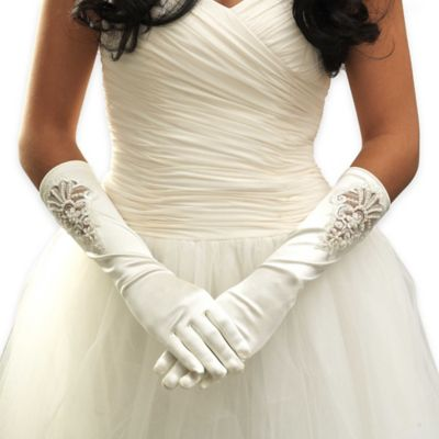 Below The Elbow Simulated Pearl and Lace Matte-Finish Full Fingered Bridal Gloves in White