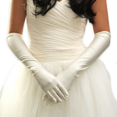Below The Elbow Bridal Gloves in White