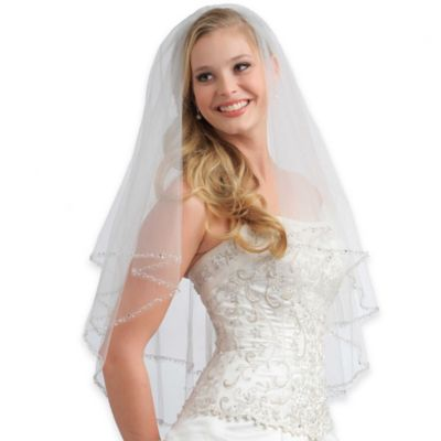 Priscilla Fingertip Length 2-Layer Beaded Tulle Bridal Veil in White