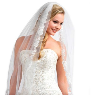 1-Layer Angelic French Lace Wedding Veil in White