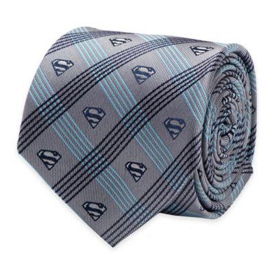 DC Comics™ Superman Logo Plaid Tie in Grey/Navy