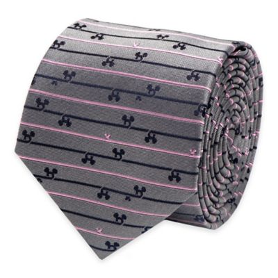 Disney® Mickey Mouse Striped Tie in Grey/Pink