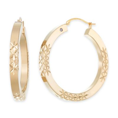 14K Yellow Gold Diamond Cut Squared Hoop Earrings