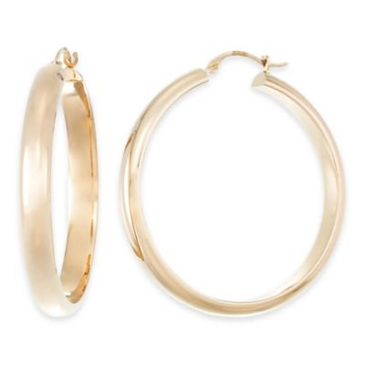 14K Yellow Gold Half Round Polished Hoop Earrings