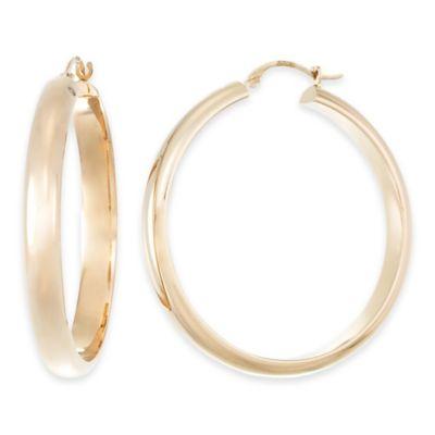 14K Yellow Gold Half Round Polished Hoop Earrings